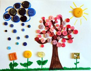 Spring Scene Button Art is an incredibly easy craft for kids to enjoy. The result is adorable, and it costs nothing!
