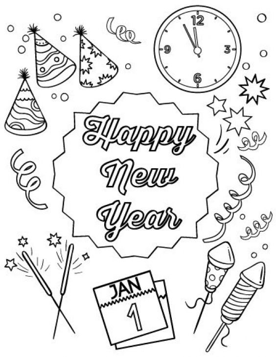Happy New Year Stuff For Party Coloring Page