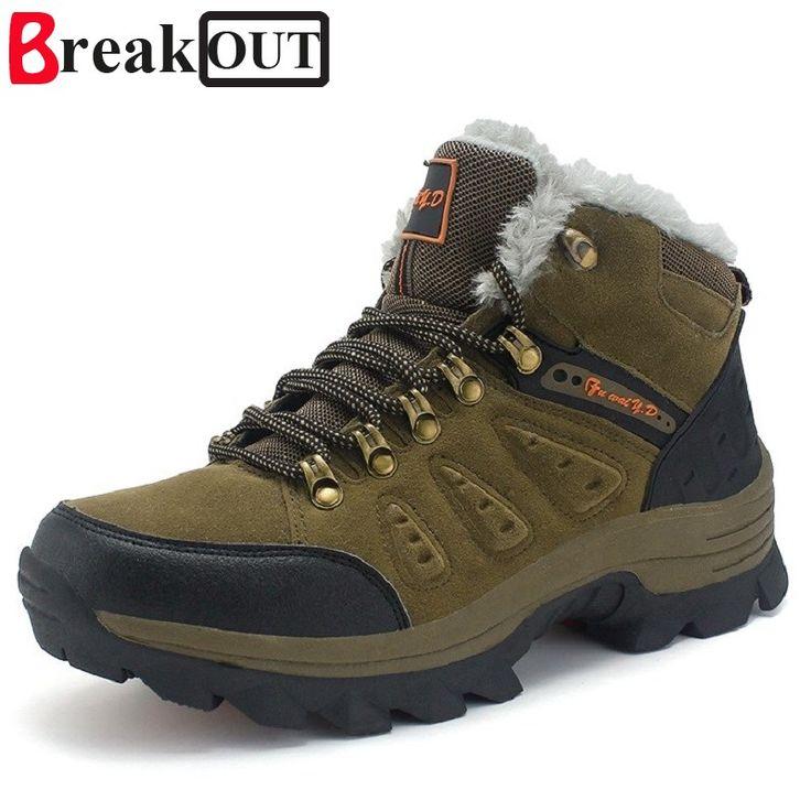 Break Out New Men Boots for Men Winter Snow Boots Warm Fur&Plush Lace Up High Top Fashion Men Shoes 45 46 47   Price: 29.82 USD