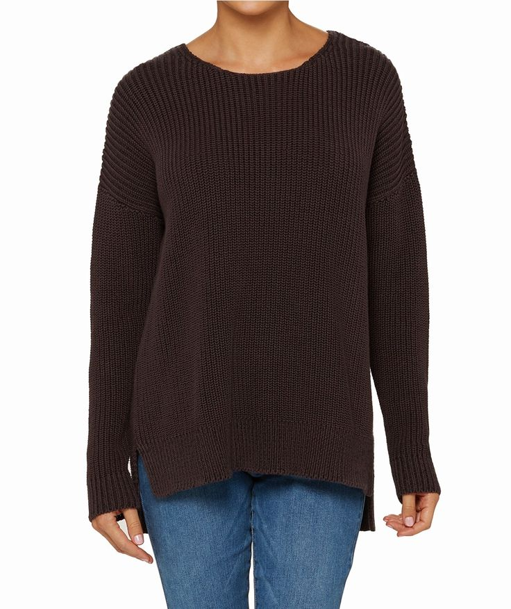 Take your weekend wardrobe to a new level with the Easy Side Split Jumper. This cotton ribbed knit features drop shoulder seams, round neckline and stepped back hem.
