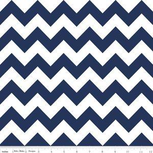 Riley Blake Designs - Flannel Basics - Medium Chevron in Navy