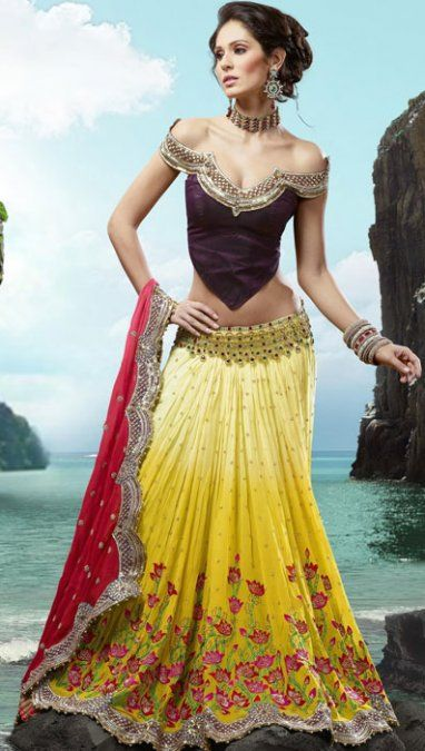 Yellow Floral #Lehenga With A Stunning Off The Shoulder #Blouse.