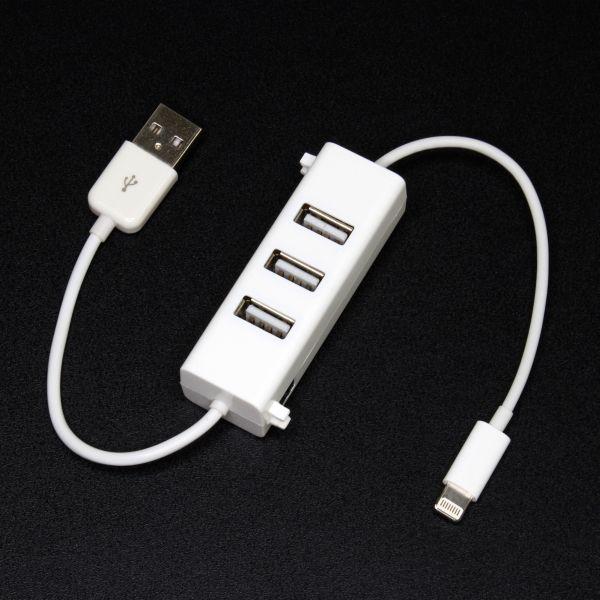 USBハブのついたLightningケーブル「DN-84849」
