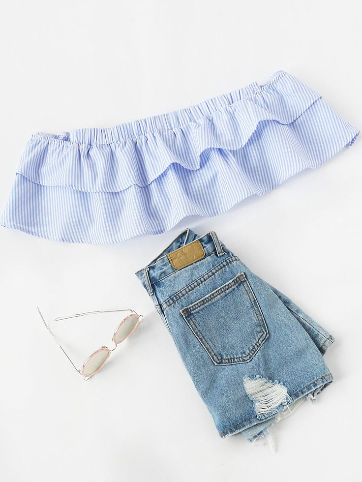 ¡Cómpralo ya!. Bandeau Layered Crop Top. Blue Vacation Cute Sexy Off the Shoulder Short Sleeve Polyester Striped Layered/Tiered Crop Ruffle Fabric has no stretch Spring Summer Blouses. , topcorto, croptops, croptop, croptops, croptop, topcrop, topscrops, cropped, topbailarina, corto, camisolacorta, crop, croppedt-shirt, kurzestop, topcorto, topcourt, topcorto, cortos. Top corto de mujer de SheIn.