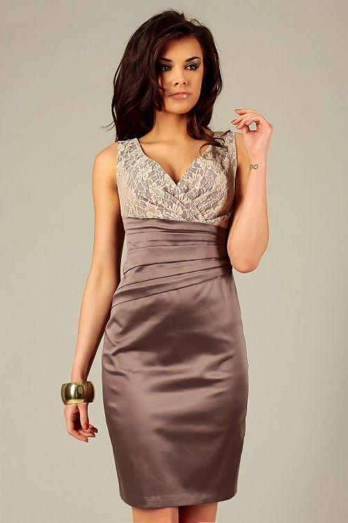 Wieczorowa satynowa elegancka sukienka z koronką cappuccino