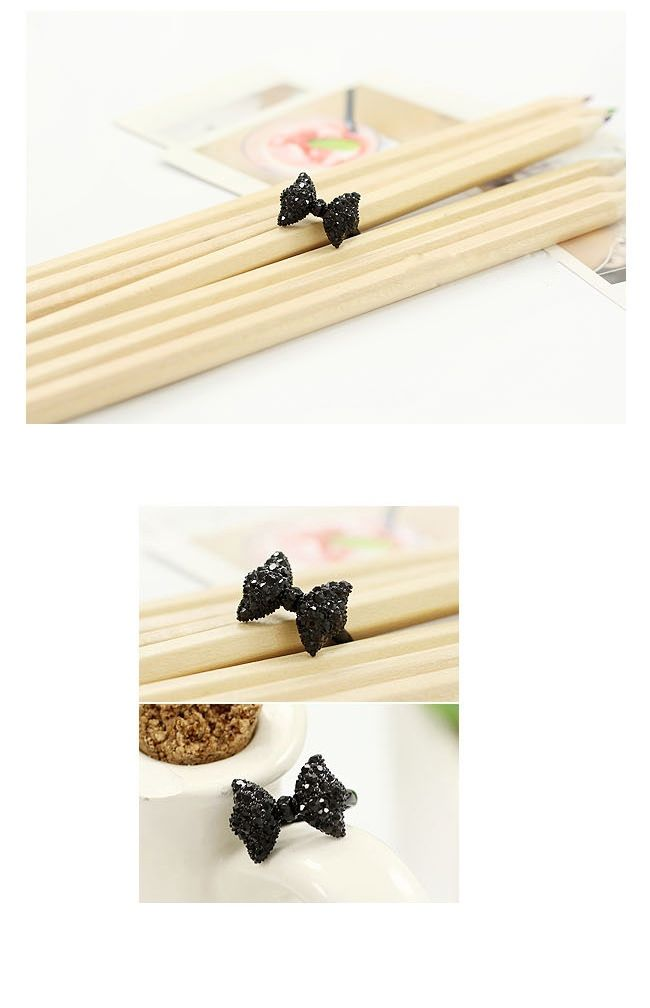 Lovely Cute Lady Girl's Black Rhinestone Bowknot Bow Tie/ Butterfly Ring (BLACK) | Sammydress.com
