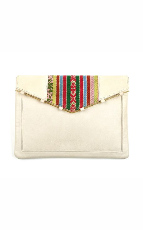 Lizzie Fortunato Peruvian Manta III Envelope Clutch at Moda Operandi  This grey stone leather clutch features an envelope construction with a decorative brass rod and Peruvian textile embroidery at the front flap