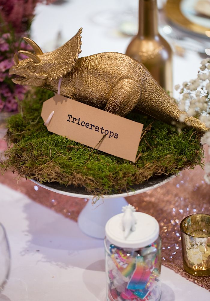 Dinosaur table centrepiece. Phil Drinkwater photography #wedding #table #centrepiece