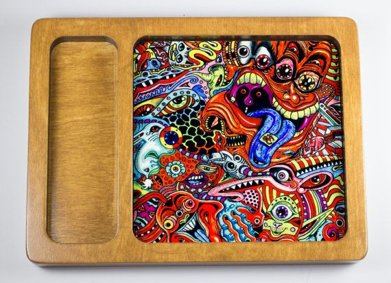 Psychedelic Weed Rolling Tray - Black Option Now available! - Rolling Trays, Weed Trays, Cannabis