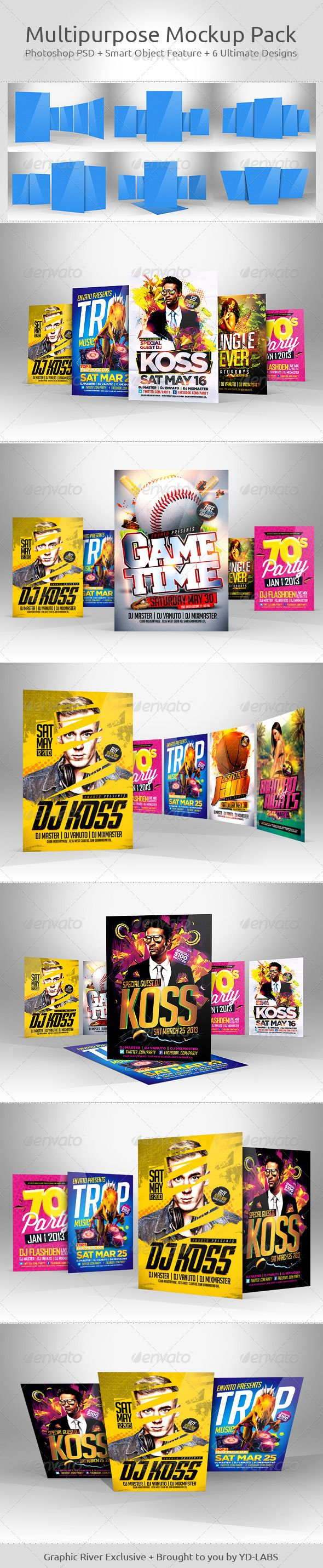 6 poster design photo mockups - Multipurpose Mockup Pack 5