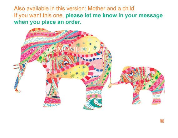 Elephant mother and two baby elephants in tropical by PlanetMOMEKO, 50.00
