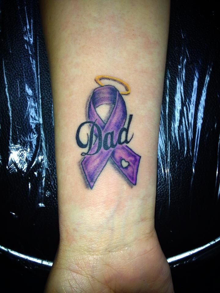 Done by Ricky Garza @ x-treme ink tattoos. Victoria tx. Got ink? Pancreas cancer ribbon tattoo