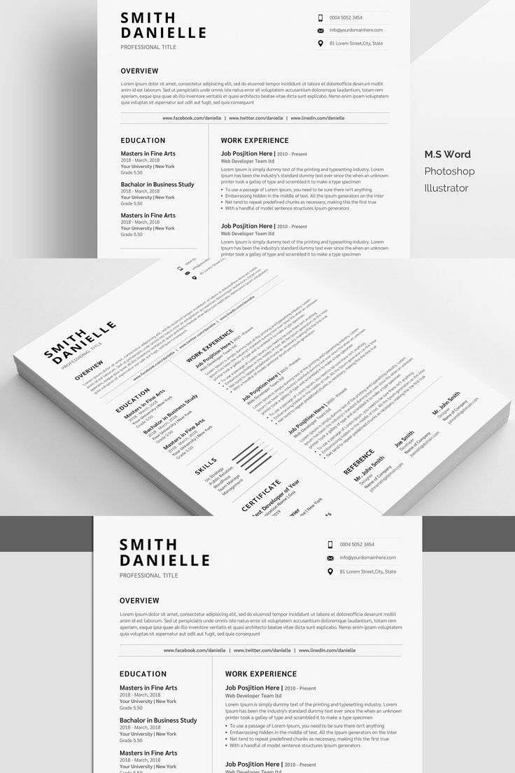 minimal and modern us resume    cv template for word