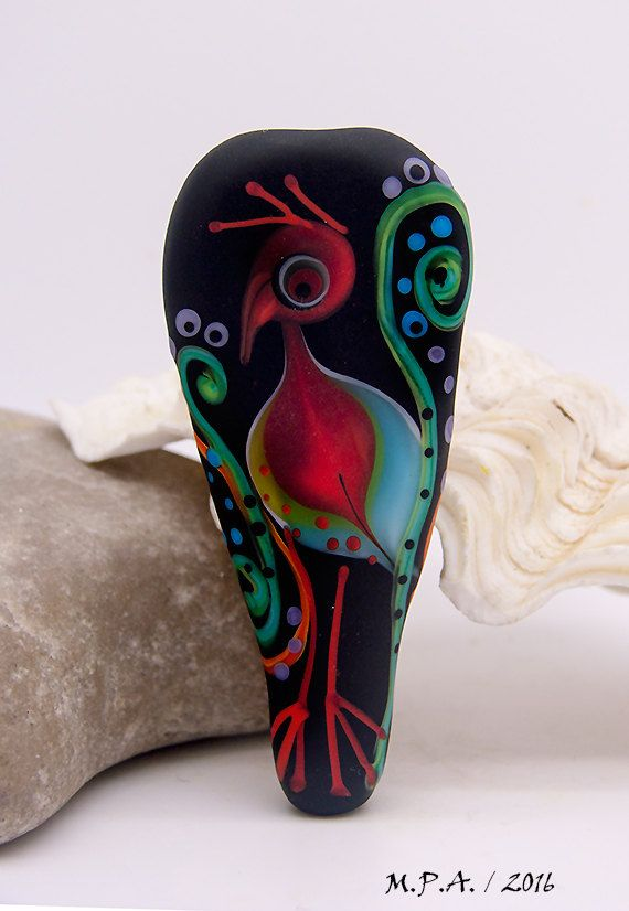 2 side Focal Bead - Bird & detailed stringer work, Statement Art Glass Art, unique lampeork bead by Michou P. Anderson by michoudesign on Etsy