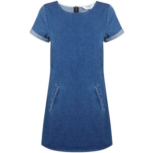 Miss Selfridge Petites Denim T Shirt Dress found on Polyvore featuring dresses, denim, petite, women, blue denim dress, petite shirt dress, pocket dress, petite dresses and tshirt dress