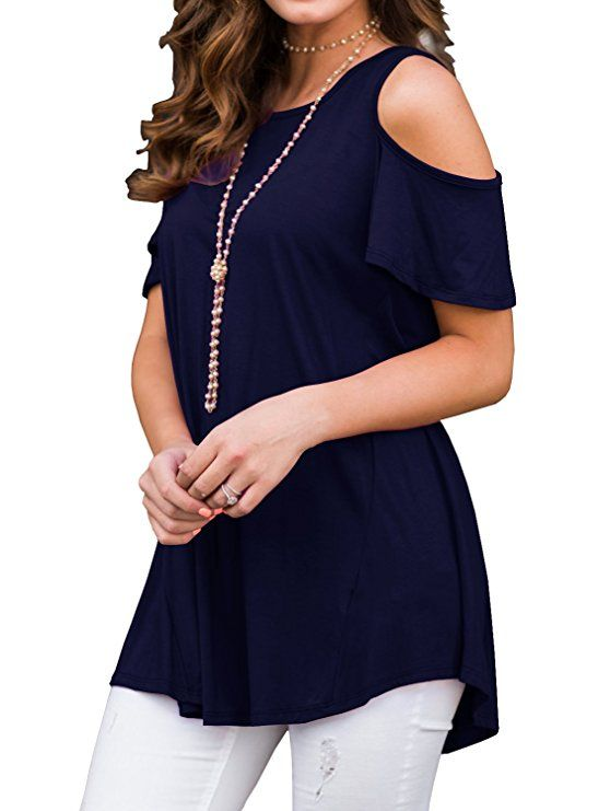 69764376908149 PrinStory Women s Short Sleeve Casual Cold Shoulder Tunic Tops Loose Blouse  Shirts at Amazon Women s Clothing store