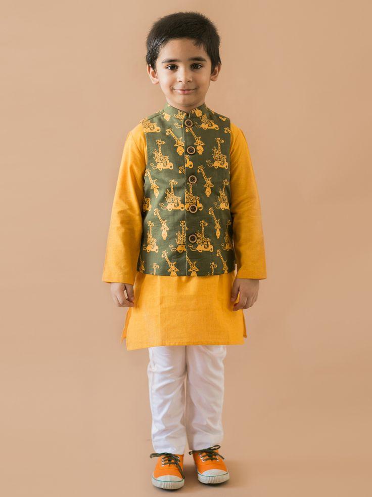 Buy 3 Pc Olive Jungle Print Nehru Jacket Kurta Set