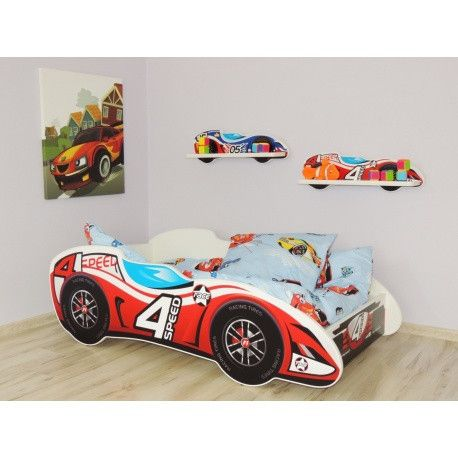 '4 Speed' luxury racing car starter bed for toddlers - red and white - The Little Bedroom Company