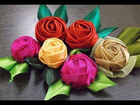 Botao de Rosa em Tecido- Passo a Passo -tutorial HOW TO MAKE ROLLED RIBBON ROSES- fabric flowers - YouTube