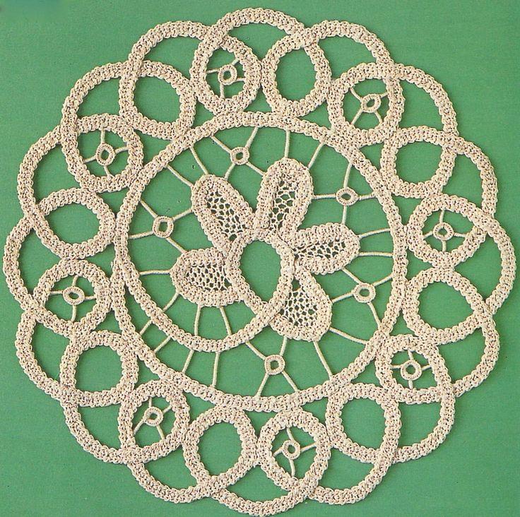 Fibra Arte Reflexiones: mat rumano Point Lace Crochet utilizando un cable de punto plano ancho (cinta).