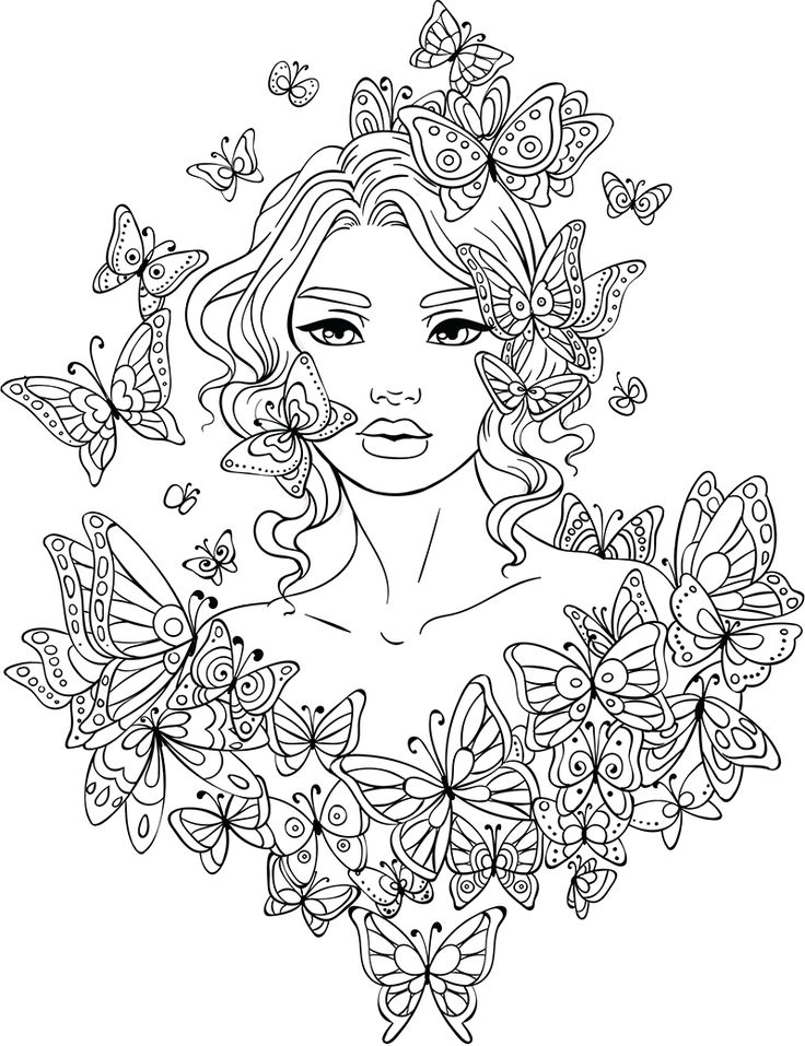 line artsy free adult coloring page butterflies around uncolored - Coloring Page Woman