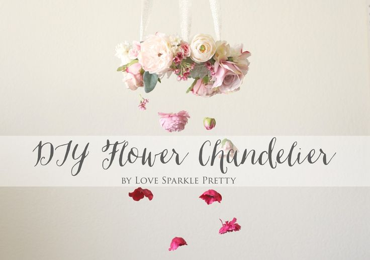 DIY Flower Chandelier by Love Sparkle Pretty for events and flower mobile for baby nursery. http://lovesparklepretty.com/blog/diy-flower-chandelier