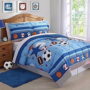 Laura Hart Kids Comforter Set (Sports and Stars, Full/Queen)