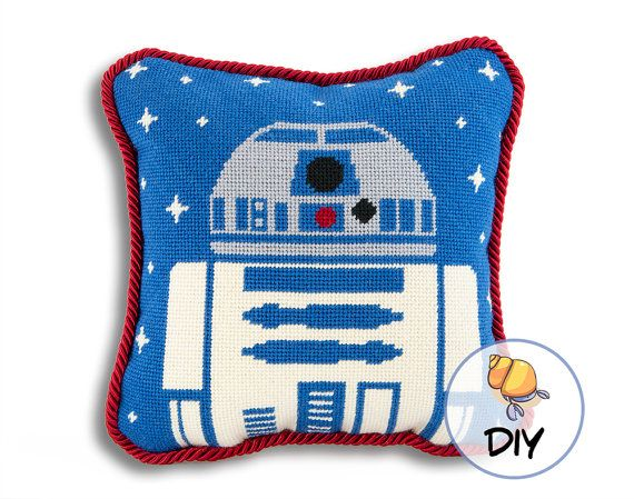 Star Wars Needlepoint R2D2 Printed Canvas by HermitCrabStitchery