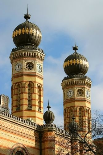Great Synagogue towers, Budapest.  There were many, many Jews in Budapest before the Holocaust (24% of the population). Jews were attracted by the liberal policies of Austro-Hungary, which allowed them to flourish in law, medicine, banking, commerce and even the government bureaucracy. Many synagogues remain.
