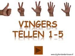 Digibordles vingers tellen 1 tot en met 5. http://digibordonderbouw.nl/index.php/themas/lichaam/lichaam/viewcategory/394-lichaam-digibordlessen
