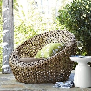 Montauk Nest Chair, Antique Palm - modern - outdoor chairs - by West Elm