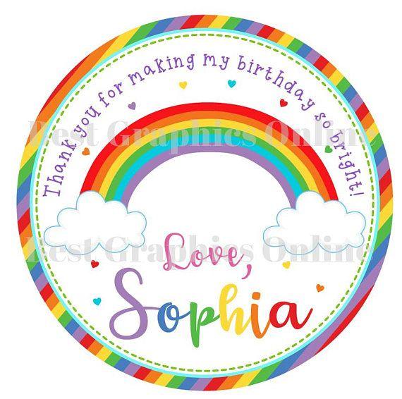 Personalised handmade by stickers labels 24 mini rainbow