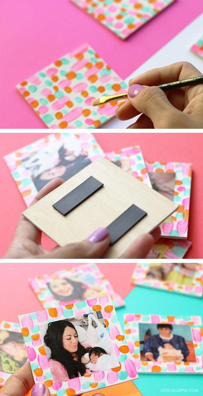 So fun and colorful! How to DIY these Colorful Magnets for Mother's Day | Tan coloridos y divertidos! Aprende a hacer estos imanes para el Día de las Madres | Live Colorful (click through for tutorial)