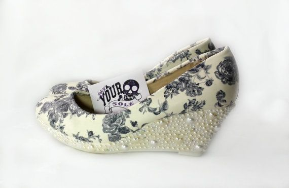 Bridal wedge. Wedding shoes fabric covered pearls by RockYourSole