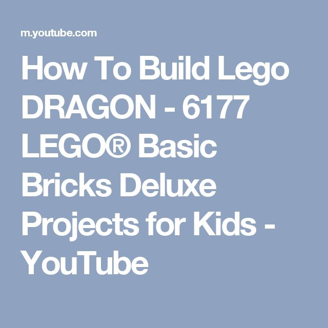 How To Build Lego DRAGON - 6177 LEGO® Basic Bricks Deluxe Projects for Kids - YouTube
