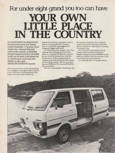 Vintage 1981 4 pgs DATSUN C20 CAMPER VAN MOTOR CAR Advertisement/Article