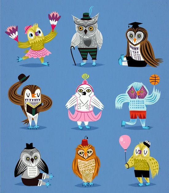 Owls Wearing Outfits, by Lota Illustration