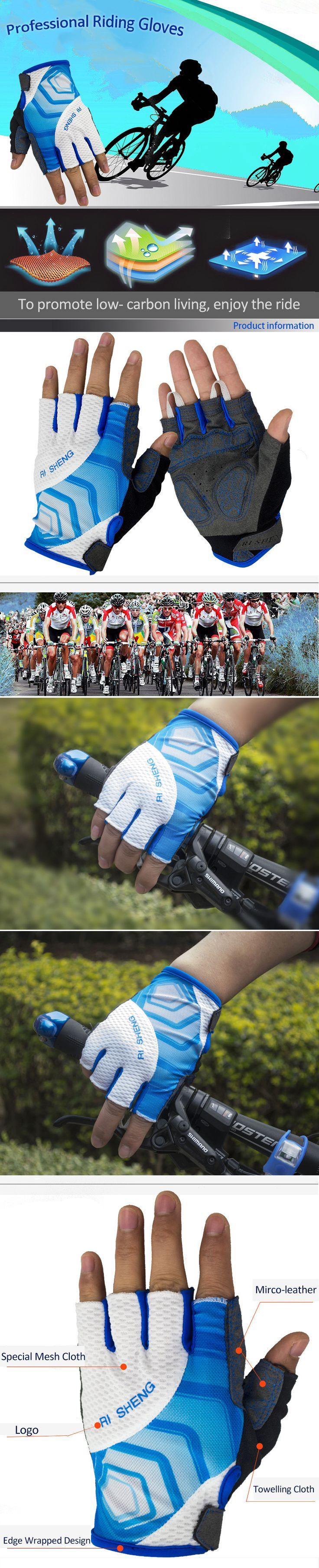 Only US$8.29, buy best RI SHENG Shockproof Breathable MTB Half Finger Gloves Mountain Cycling Gloves Bicycle Motocross Gloves sale online store at wholesale price.US/EU warehouse.