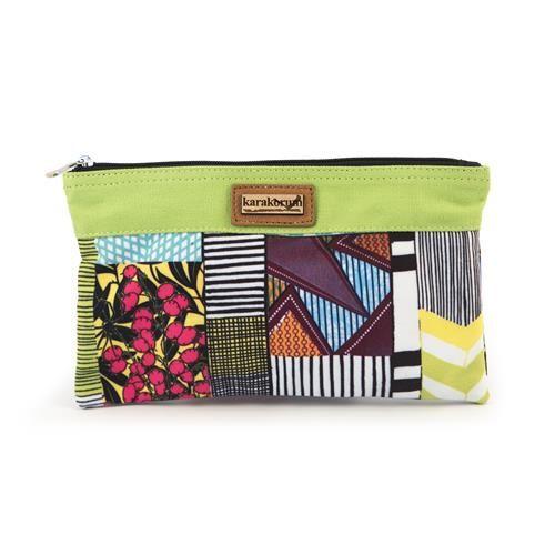 POCHETTE LARAN - Pochette in tela di nylon, stampa patchwork e chiusura con zip.