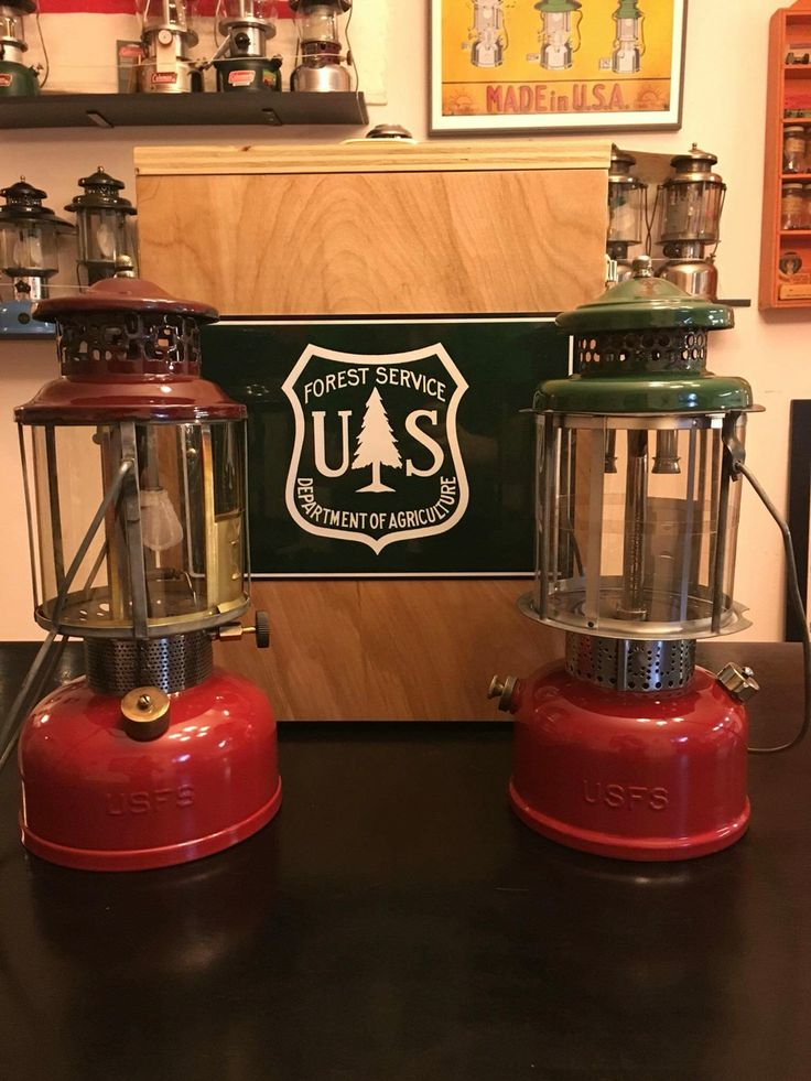 USFS ( US FOREST SERVICE) lanterns AGM ( American gas machine) Left COLEMAN right