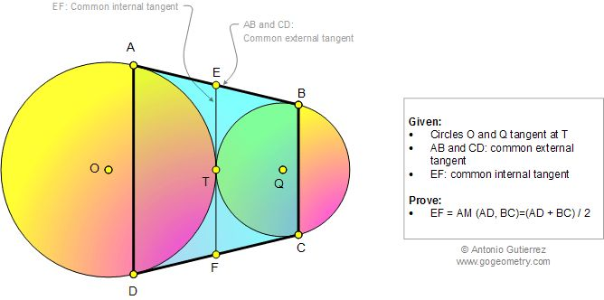 Geometry Problem 1009: Tangent Circles, Common External Tangent, Common Internal Tangent, Arithmetic Mean