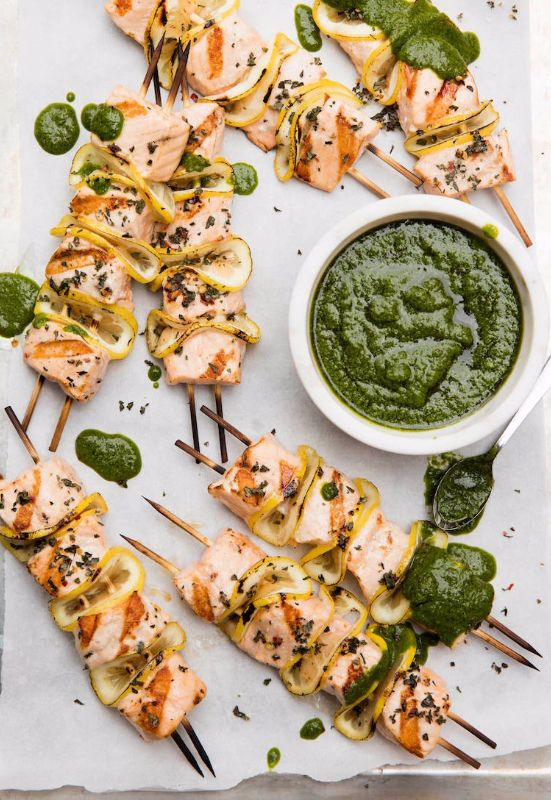 Grilled Salmon Skewers from www.whatsgabycook... the perfect summertime dinner! (@What's Gaby Cooking)