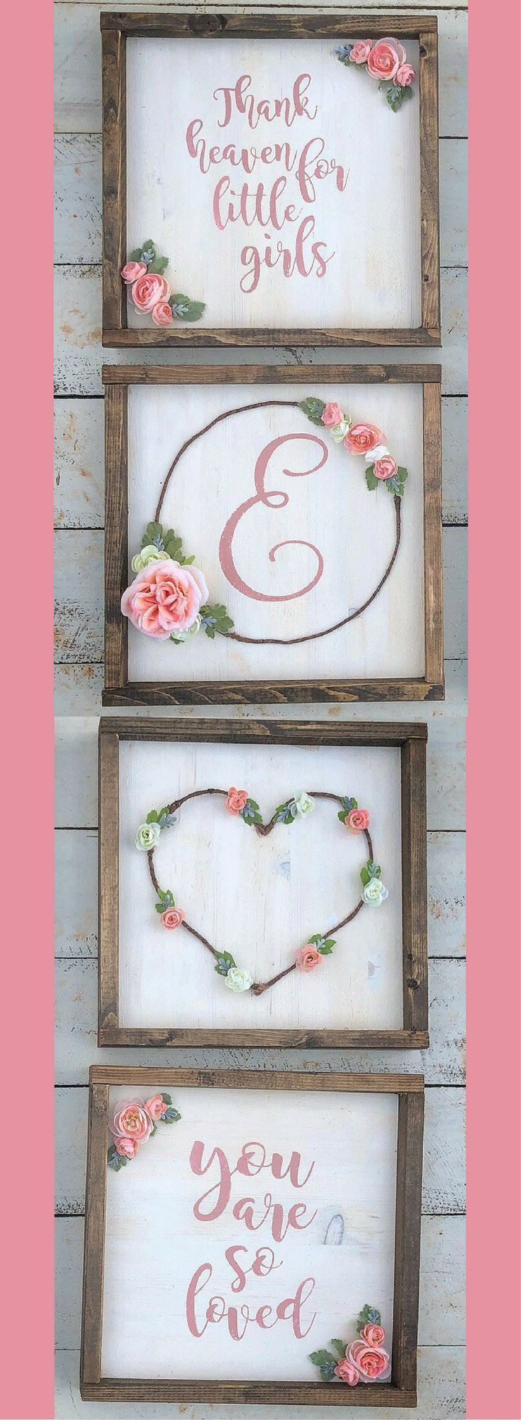 "Floral flower Nursery ""you are so loved "" Initial, heart, and ""thank heaven for little girls"" succulents rustic frame wood sign set, rustic nursery decor, nursery wall art, rustic decor, farmhouse nursery decor #ad"