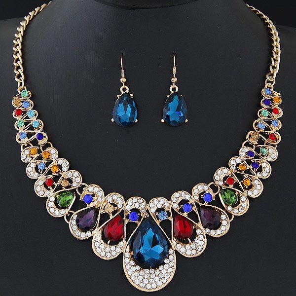 Zinc Alloy Jewelry Sets, pendiente & collar, aleación de zinc, con Vidrio, Gota, chapado en color dorado, multicolor, libre de plomo & cadmio, 450mm, longitud:aproximado 17.72 Inch, Vendido por Set,Abalorios de joyería por mayor de China