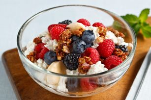 Delicious and Nutritious Morning Favorite:  Cottage Berry Crunch recipe.  Leave out the granola and add additional in season fruits like mangoes, strawberries or kiwi