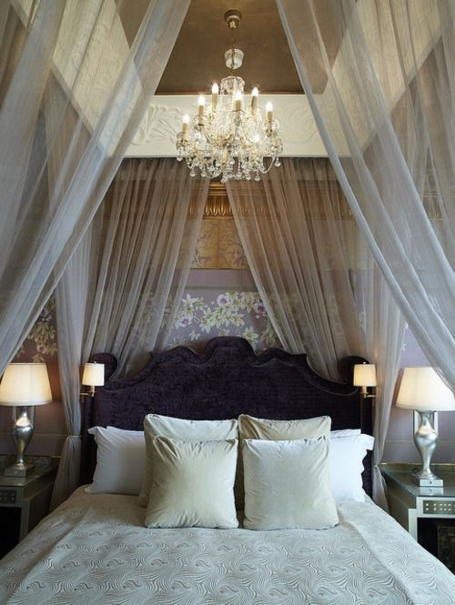 Just hang up some long net/silky scarves from the ceiling for a quick and easy DIY. If you want a more polished look then obviously you need more than just tape/adhesive......my dream bedroom!!!!! I wish!!!!