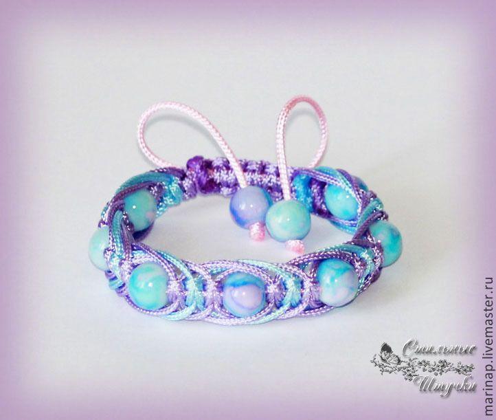 Купить Детский браслет Арахна - сиреневый, сиреневый браслет, нежное украшение, детское украшение