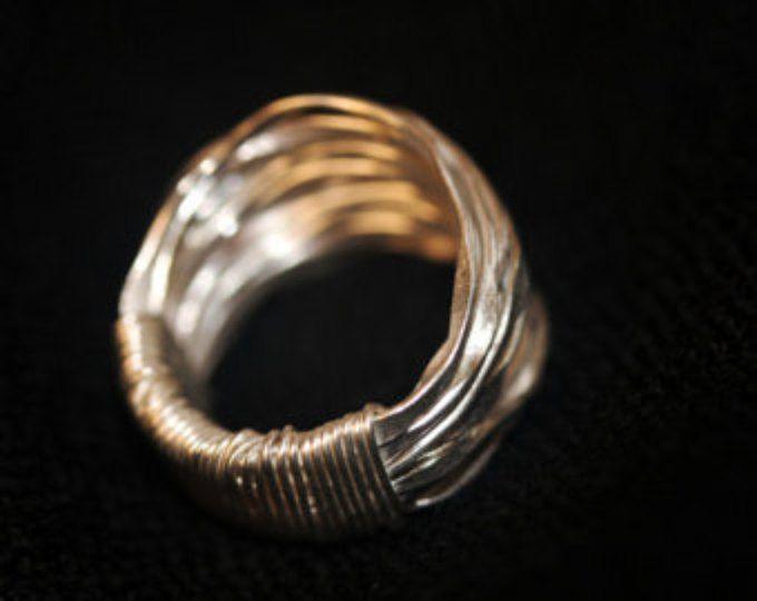Handgemaakte gehamerd zilver draad zilveren ring (R0009)