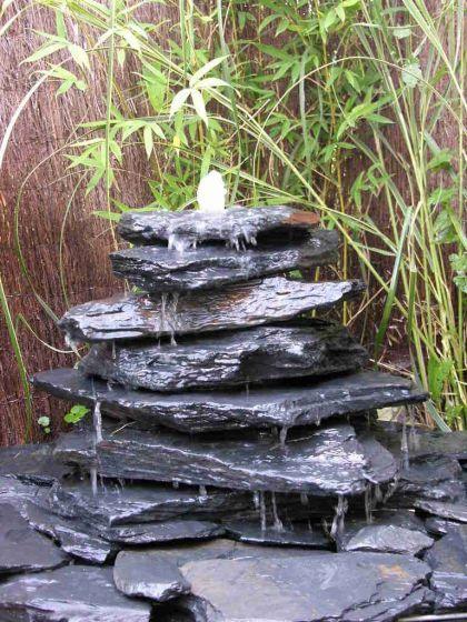 Kaskaden Brunnen grauschwarz 7teilig - Vorschau