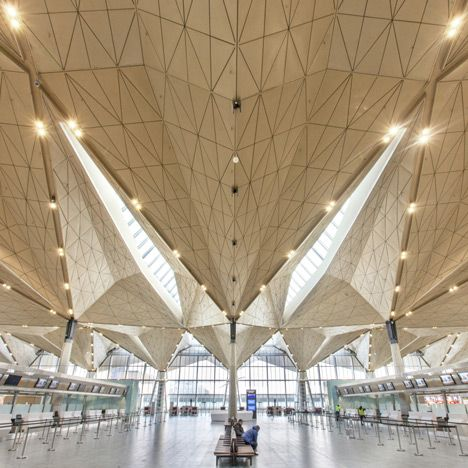 St Petersburg airport with folded golden ceilings | Grimshaw